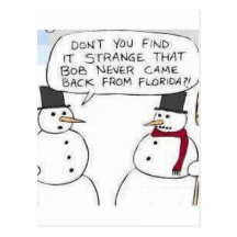 Snowman went to Florida Postcard
