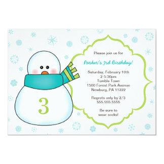 Snowman Winter Birthday Party Invites