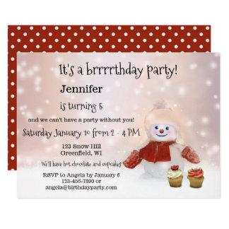 Snowman Winter Girl Birthday Party Invitation