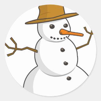 Snowman Winter Happy Family Friends Destiny Season Round Stickers