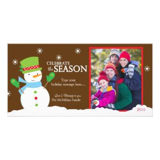 Snowman Winter Holiday Christmas Photo Card 8x4