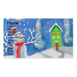 Snowman winter scene folk art painting business card templates