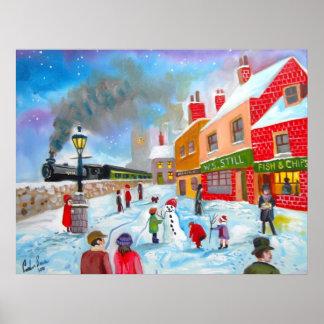 Snowman winter scene folk art painting train poster