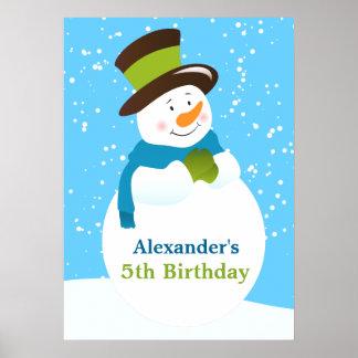 Snowman Winter Wonderland Boy Birthday Poster
