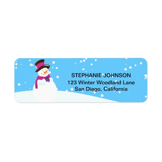 Snowman Winter Wonderland Girl Address Labels
