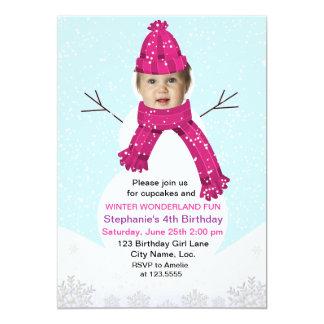 Snowman Winter Wonderland Photo Birthday Custom 13 Cm X 18 Cm Invitation Card
