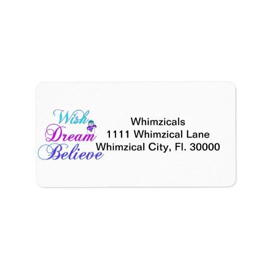 Snowman Wish Dream Believe Gifts Purple & Teal Address Label