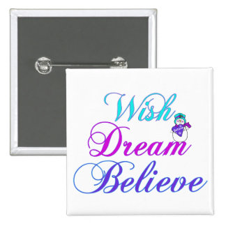Snowman Wish Dream Believe Gifts Purple Teal Buttons