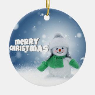 Snowman wishes round ceramic decoration