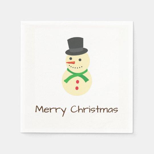 Snowman Wit A Top-Hat Merry Christmas Paper Serviettes