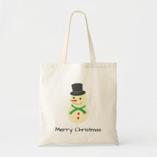 Snowman Wit A Top-Hat Merry Christmas Tote Bag