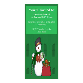 Snowman with A Bag Full Of Presents Personalized Rack Card
