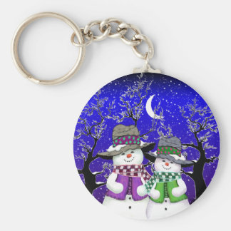 Snowman with a Friend Basic Round Button Key Ring