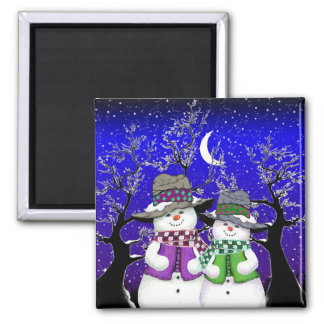 Snowman with a Friend Magnet