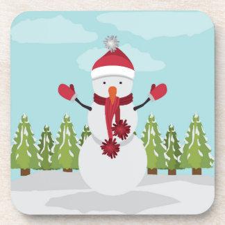 Snowman With A Pompom Scarf Coaster