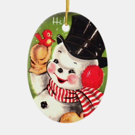 Snowman with Bird Ceramic Oval Decoration