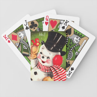 Snowman with Bird Poker Deck