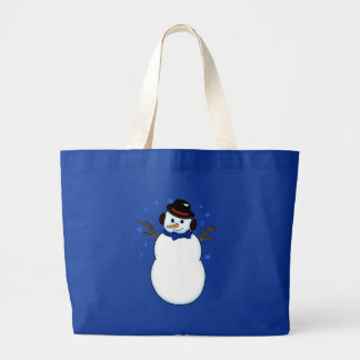 Snowman with Carrot Nose Jumbo Tote Bag