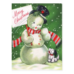 Snowman with Dog Postcard