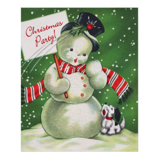 Snowman with Dog Poster