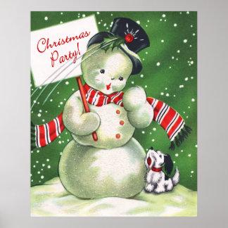 Snowman with Dog Print