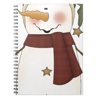Snowman with green hat spiral notebook