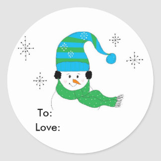 Snowman With Hat and Scarf Round Sticker