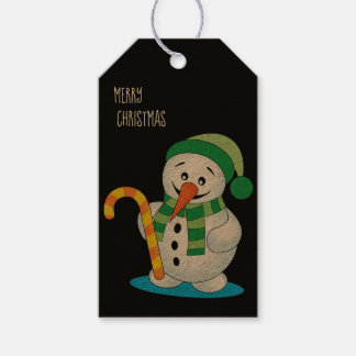 Snowman with Hat Personalized Christmas Gift Tag