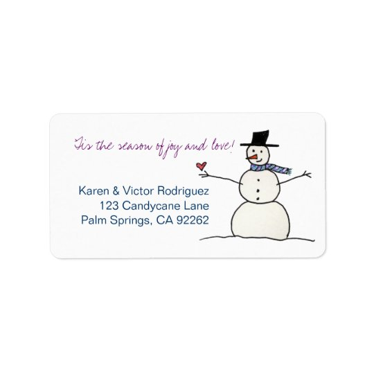 Snowman with Heart, address labels