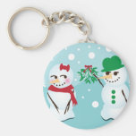 Snowman with Mistletoe Wanting a Kiss Basic Round Button Key Ring