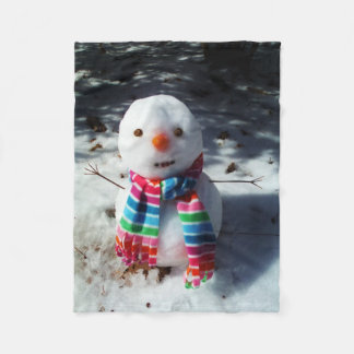 Snowman with Rainbow Scarf Fleece Blanket