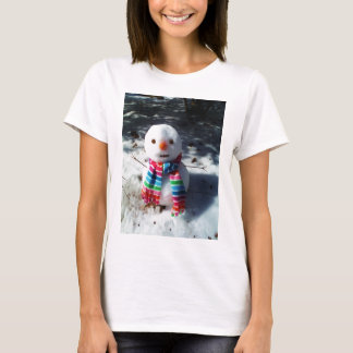 Snowman with Rainbow Striped Scarf T-Shirt