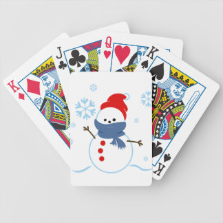Snowman with red hat bicycle playing cards