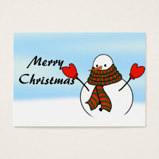 Snowman with Red Mittens and a Long Scarf