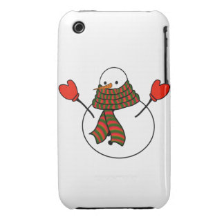 Snowman with Red Mittens and a Long Scarf iPhone 3 Cover