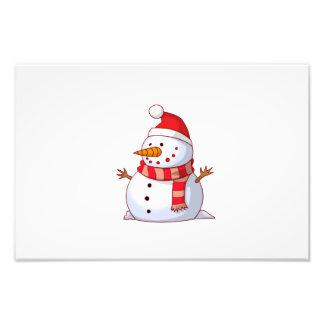 Snowman with Santa hat cartoon Photograph