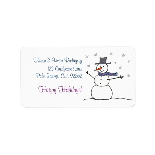 Snowman with Scarf, address labels