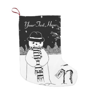 snowman with scarf and hat black and white art
