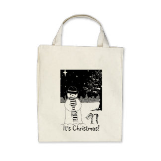 snowman with scarf and hat black and white art canvas bag