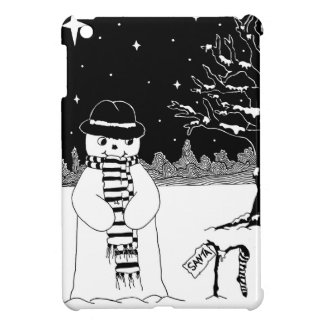 snowman with scarf and hat black and white art iPad mini cover