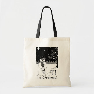 snowman with scarf and hat black and white art budget tote bag