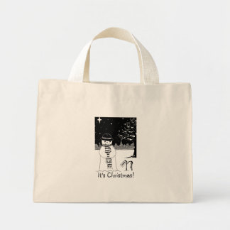 snowman with scarf and hat black and white art mini tote bag