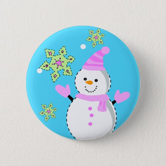 snowman with snowflakes screen 6 cm round badge