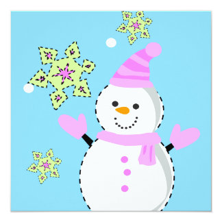 snowman with snowflakes screen card