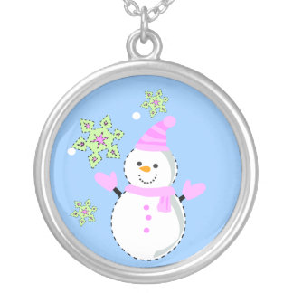 snowman with snowflakes silver plated necklace