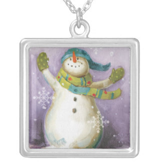 Snowman with Winter Mittens and Christmas Trees Silver Plated Necklace