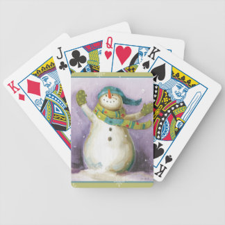 Snowman with Winter Mittens Bicycle Playing Cards