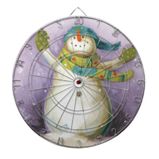 Snowman with Winter Mittens Dartboard