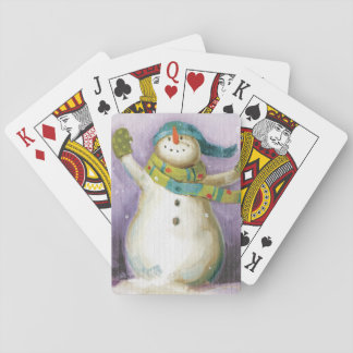 Snowman with Winter Mittens Playing Cards
