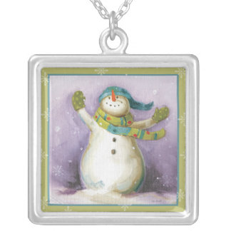 Snowman with Winter Mittens Silver Plated Necklace
